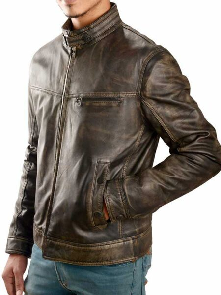 Antique Distressed Brown Leather Jacket