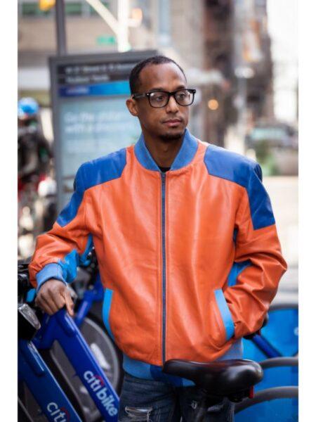 Italian Soft Men's Leather Bomber Lamb Leather Jacket Orange & Blue