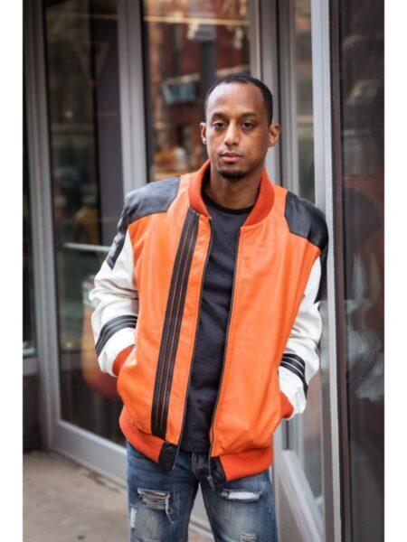 Shop Mens Bomber Leather Jacket Contrast - WearOstrich.com