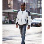 Men's Leather Bomber Jacket Gray & White