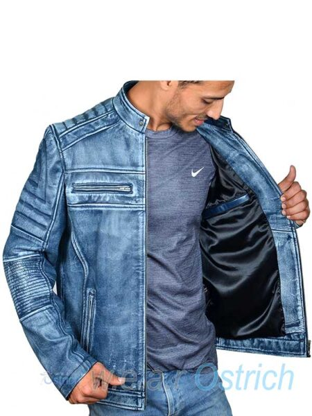 blue leather jacket mens