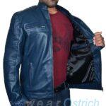 Shop Punk leather jacket –  Dark Navy Leather Blazer Men Jacket