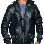 Black Bomber Jacket For Men – Baseball Leather Jacket With Hood