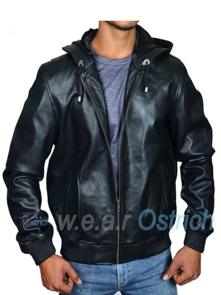 Black Bomber Jacket For Men - Baseball Leather Jacket With Hood