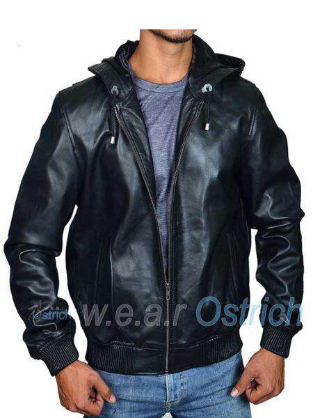 Black Bomber Jacket For Men - Baseball Leather Jacket With Hood