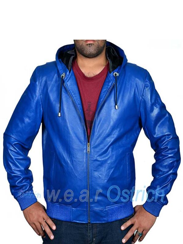Royal Blue Bomber Leather Jacket For Men