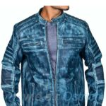 Mens leather motorcycle jackets - Distressed Blue Allsaints Leather Jacket