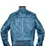 Mens leather motorcycle jackets – Distressed Blue Allsaints Leather Jacket