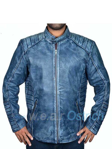 Navy Blue Motorcycle leather jacket - Leather Biker Jacket Mens