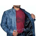 Navy Blue Motorcycle leather jacket – Leather Biker Jacket Mens