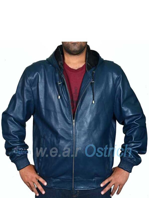 Navy Blue Bomber Jacket – Blue Hooded Baseball Leather Jacket