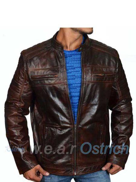 Mens Lamb Skin Brown Leather Jacket