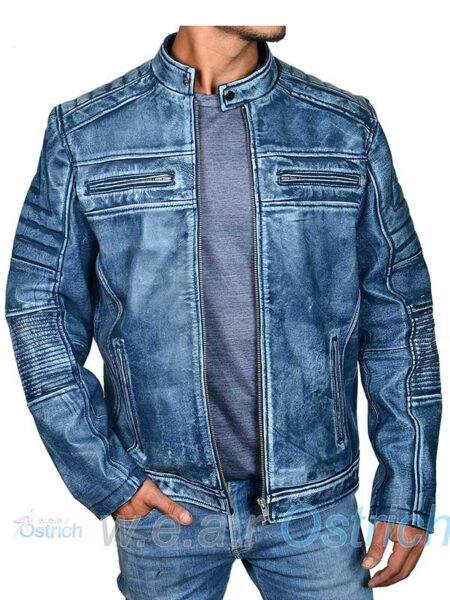 MENS BLUE ITALIAN LEATHER JACKETS