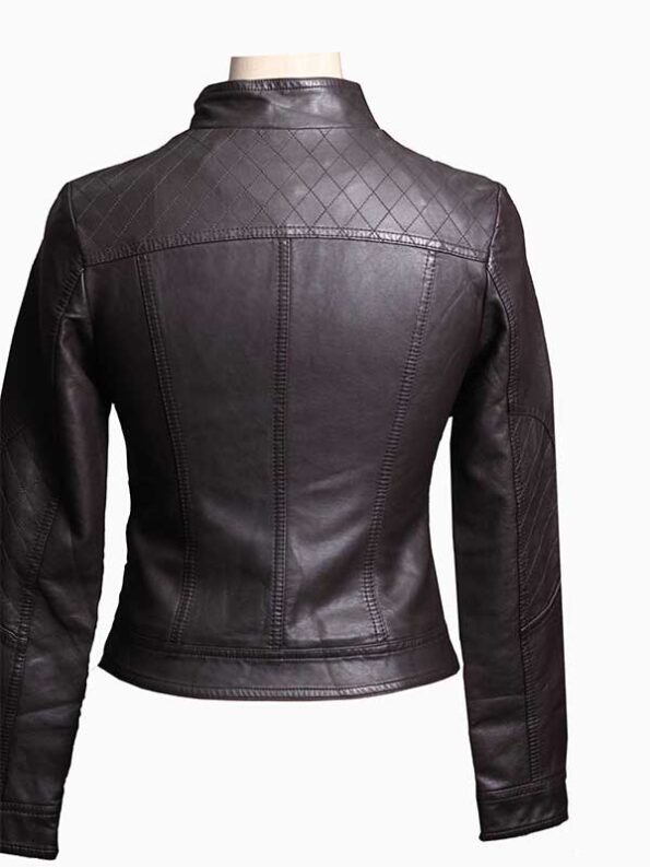 dark brown leather jacket womens