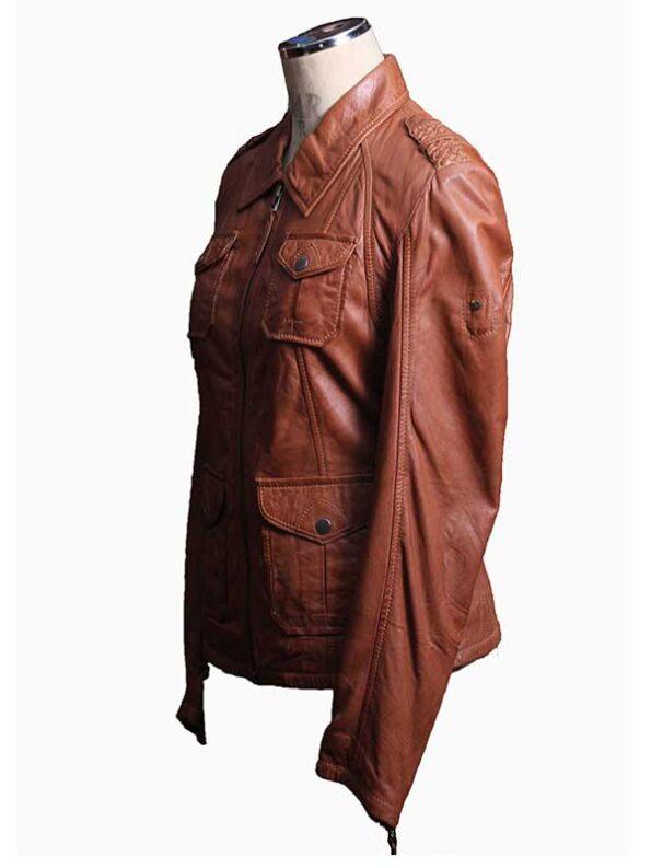 tan leather jacket women
