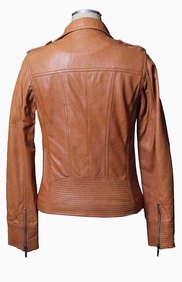 women cognac leather jacket