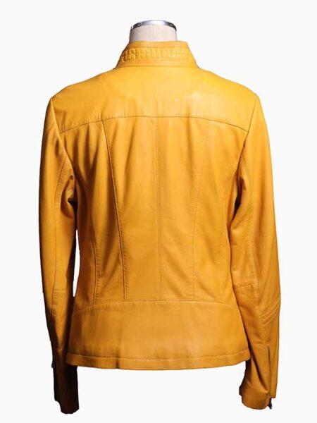 yellow leather jacket womens