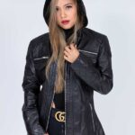 Leather jackets with Hoods Womens