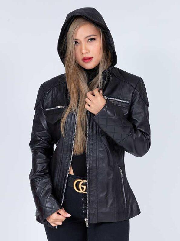 leather hooded jacket women