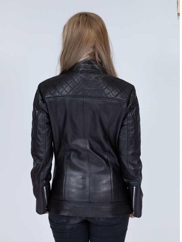 woman black leather coat