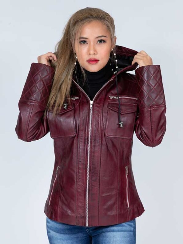 leather jacket with hood for women