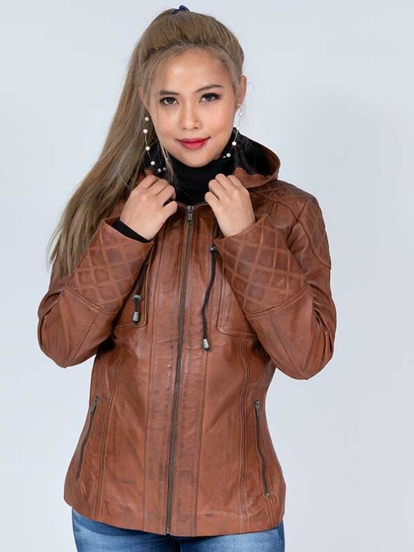 womens plus leather jacket