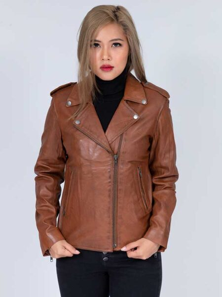distressed leather jacket women