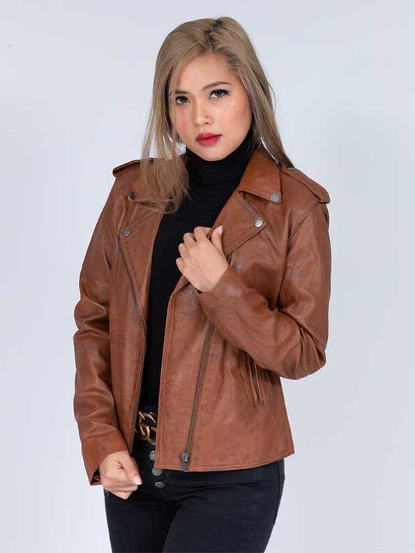 leather women motorcycle jacket